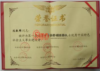 陈总荣获荣誉证书